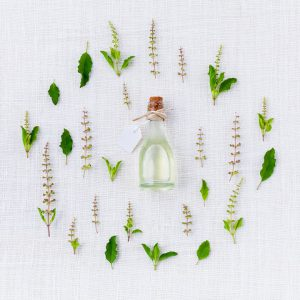 Herbs with bottle image