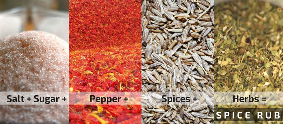 Spice rub is a mixture of ground spices - combine salt and pepper with sugar and spices, you have a dry rub.