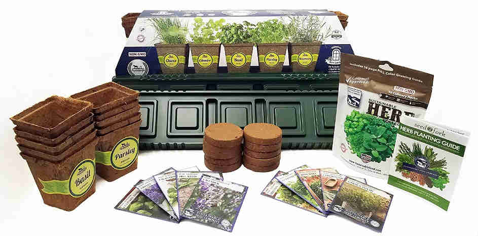 This indoor herb garden starter kit provides 10 variety of herb seeds