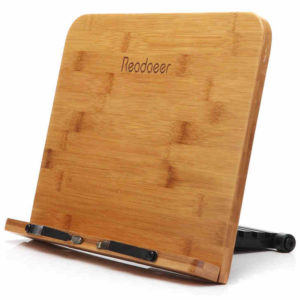 This bamboo stand will do a nice job keeping the recipes book out of the mess while the meal is being prepared.