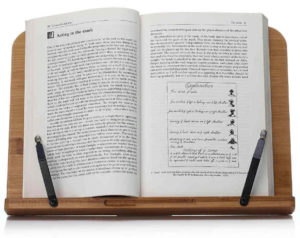 it is easier to read at an angle than having the book flat on the countertop