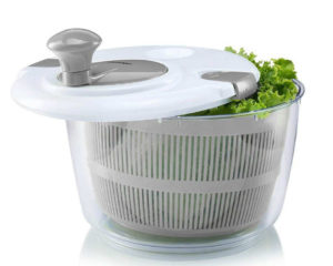 Quickly dries freshly washed lettuce and other leafy greens.
