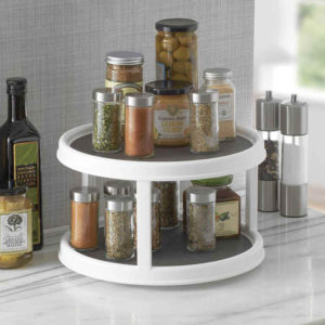 It glides easily to find the spice needed –no more shifting bottles and jars in front to get the ones behind