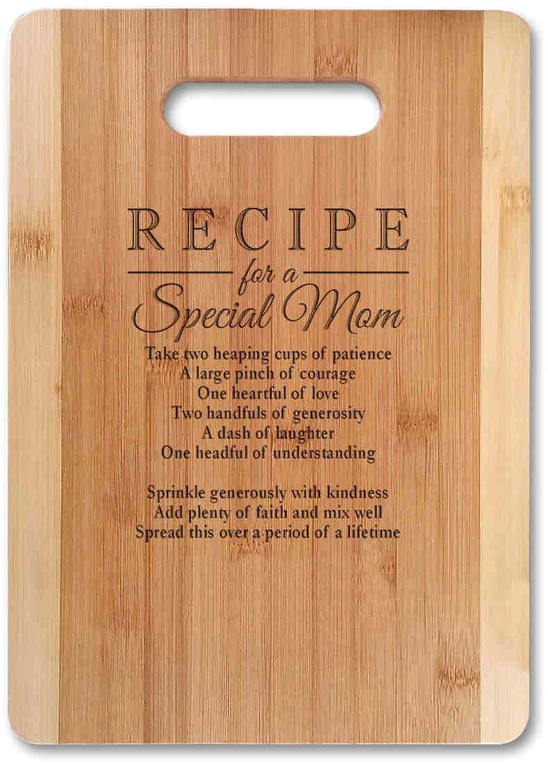 Bamboo Serving Cutting Board - An absolutely unique & poetic gift for mom