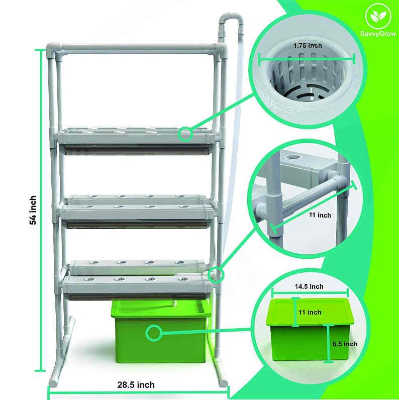 SavvyGrow Indoor Vertical Herb Garden Starter Kit Specifications