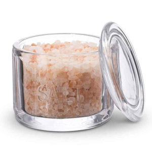 Clear Glass Salt Cellar with Lid