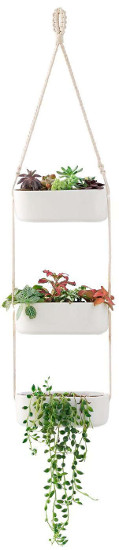 Mkono 3 Tier Ceramic Hanging Planter - Rectangular