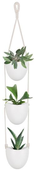 Mkono 3 Tiers Ceramic Hanging Planter - Round