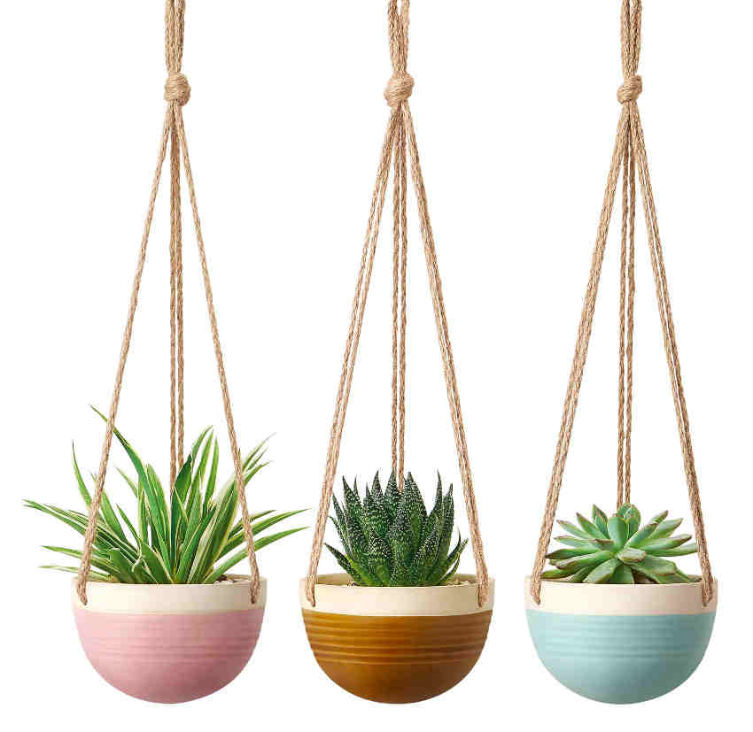 Mkono 3pcs Colourful Ceramic Hanging Planter