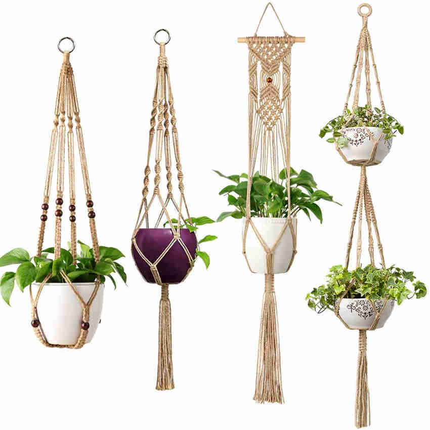 Mkono Macrame Plant Hangers with Jute Rope