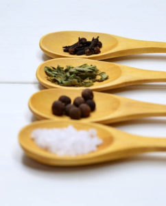 Salt, herbs and spices are basic ingredients for making seasoned salt