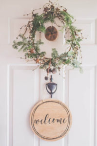 A welcoming Christmas Wreath at the front door