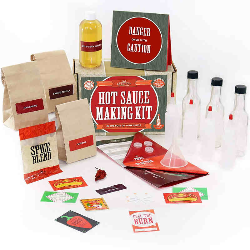 Hot Sauce Making Kit. This is a fun, creative, interesting and spicy gift all wrapped inside one box. One of the best gifts for a sauce lover or a cooking lover.