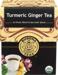 USDA certified organic, this warming tea is made with organic turmeric, organic ginger and organic black pepper with no artificial flavours or GMO.