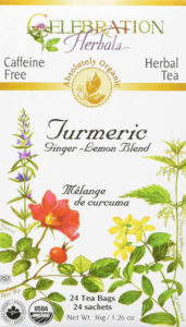 USDA certified organic, its ingredients include turmeric, ginger and lemongrass.