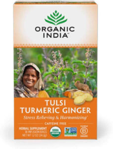 This robust blend combines turmeric with ginger, cinnamon, black pepper, cloves, stevia and tulsi.