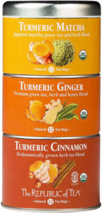 Organic Turmeric Stackable Tea Tin (12 Tea Bags x 3 tins) consist of Turmeric Matcha, Turmeric Ginger and Turmeric Cinnamon.