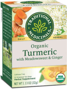 USDA certified organic and non-GMO verified, this turmeric tea blend was created to include meadowsweet and ginger.