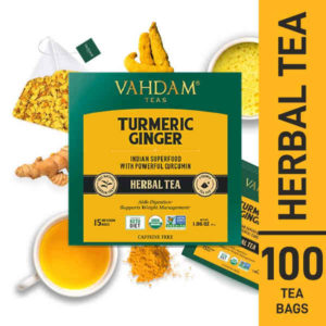 With 65% turmeric and 35% ginger, this tea blend is naturally gluten free. Also, USDA certified organic and non-GMO project verified.