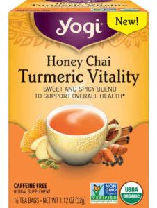 USDA certified organic and non-GMO project verified, this turmeric chai blend contains warming spices that include cinnamon, cardamom, ginger, cloves and black pepper.