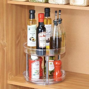 This is a great spinning organizer in a kitchen cupboard, making the most of available space