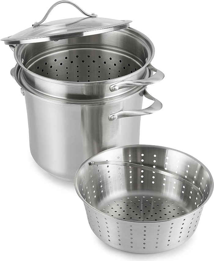 Crafted from two layers of stainless steel with a full aluminum core, this multi pot can be used three different ways.