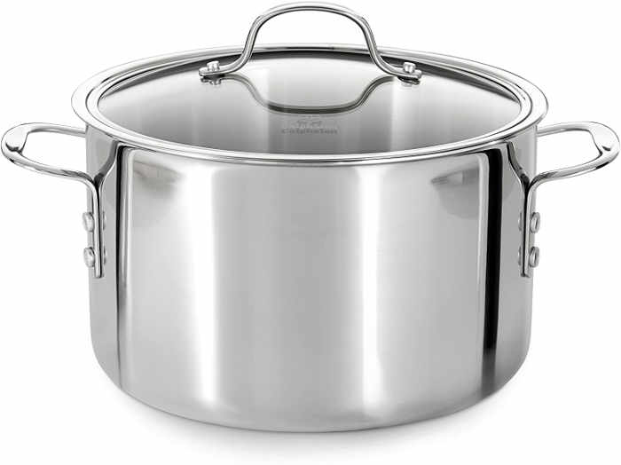 This tri-ply stainless steel pot is designed with two layers of stainless steel surrounding a full aluminum core for excellent heat conductivity, ensuring consistent heating. Ideal for slow-cooking sauces, stocks or broths.