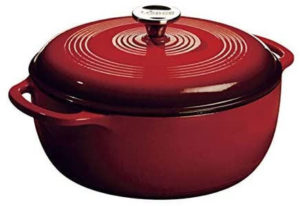 The cast iron vessel has superior heat distribution and retention, evenly heating bottom sidewalls and even the lid.