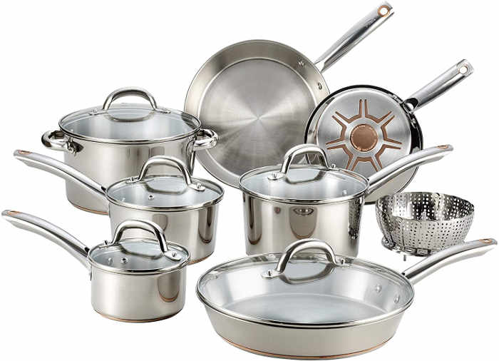 This stainless steel cookware with copper bottom helps channel heat from the center outward. The heavy gauge base is constructed with multiple layers of copper, stainless steel and aluminum for fast, even heat.