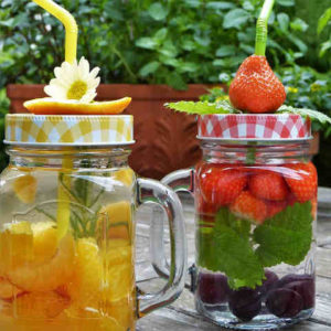 Attractively vibrant glass of infused water