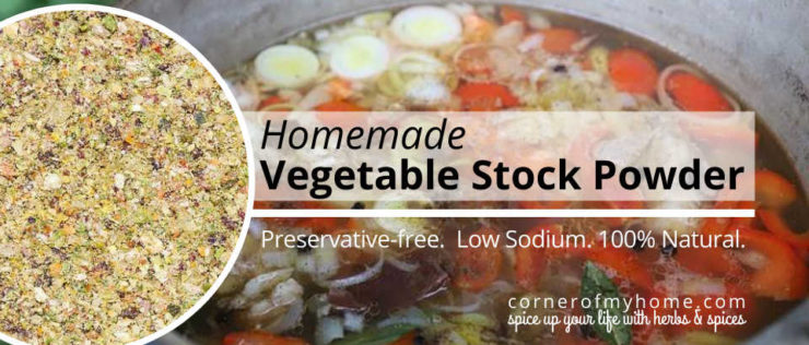 Homemade vegetable stock powder is made with fresh vegetables, herbs and salt blended together.