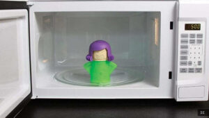 A cute and clever microwave cleaner makes cleaning process way more fun.
