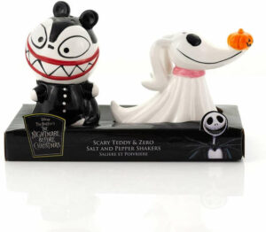 """Spice up the able and scare up some fun with this """"The Nightmare Before Christmas Scary Teddy & Zero"""" salt and pepper shaker set."""