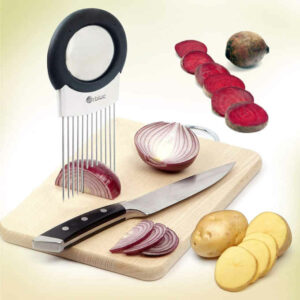The stainless steel prongs allow one to hold and slice uniform sections of onions, potatoes, tomatoes etc.