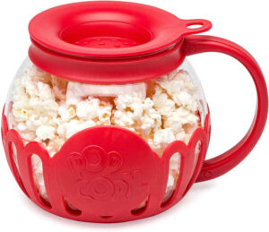 A fun popcorn popping experience with this durable temperature safe borosilicate glass popper.
