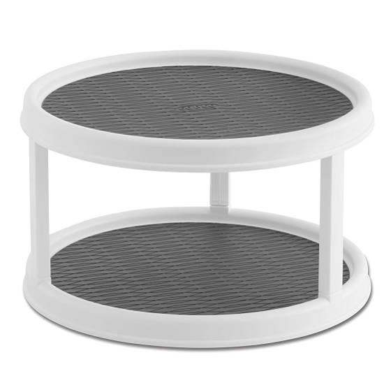 Pantry cabinet lazy Susan turntable is a revolving spice rack with non-skid surface turntables moulded into the platforms for durability and easy to clean.