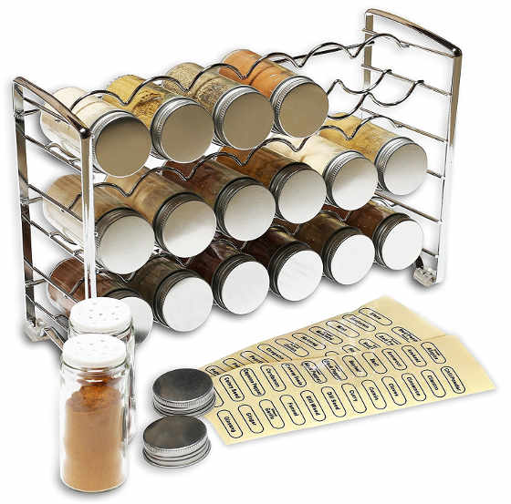 This spice rack stand holder comes with 18 spice bottles and 48 spice labels.