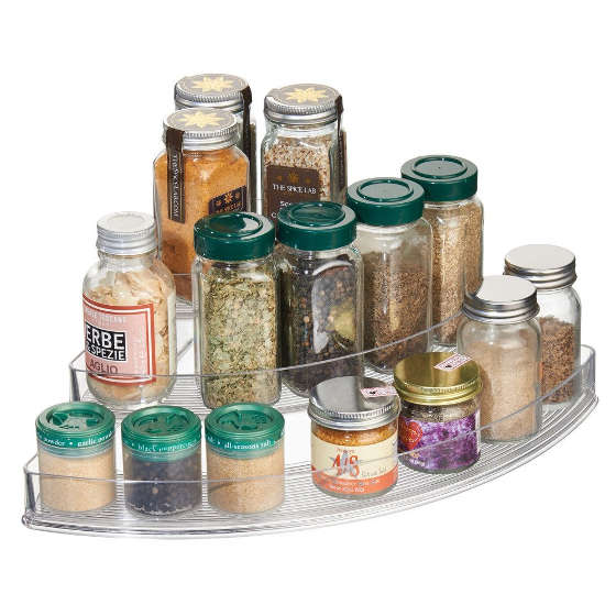 This 3-tiered spice rack is ideal for corners of deep cabinets and countertops.