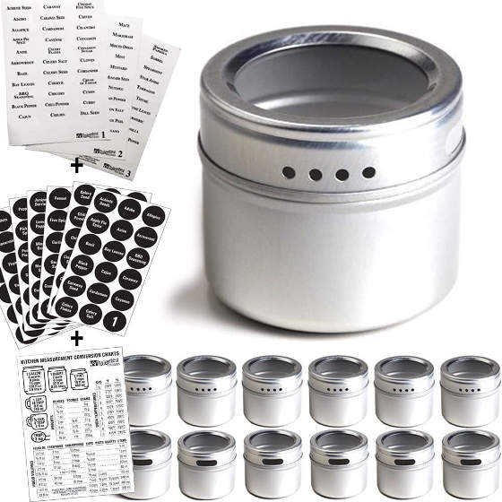 There are 12 spice tins in this set and 113 spices labels are included. The tin cover has a see-through lid and the base with magnetic backing.