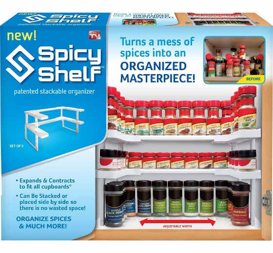 This spice rack fits any cabinet as it is fully adjustable to fit different sizes.
