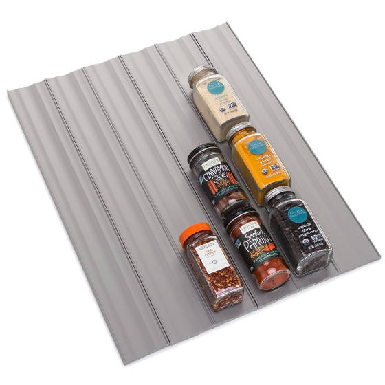 This spice liner can organize 30+ full-size spice bottles in a drawer.